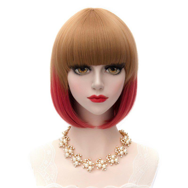 Stylish Synthetic Medium Straight Bob Flax to Red Ombre Offbeat Neat Bang Women's Capless Wig - OMBRE