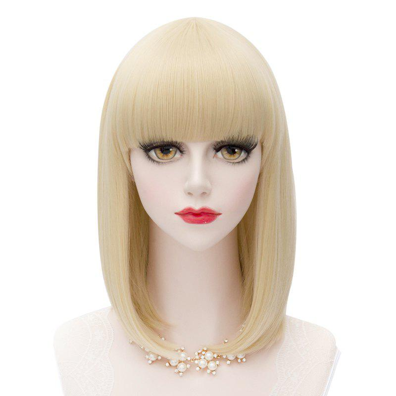 Fashion Synthetic Medium Straight Bob Light Blonde Charming Full Bang Women's Capless Wig - GOLDEN