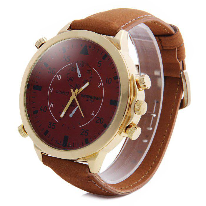 Shiweibao A1104 Analog Quartz Watch with Big Dial Nubuck Leather Band for Men clot big dial quartz watch with leather band for men