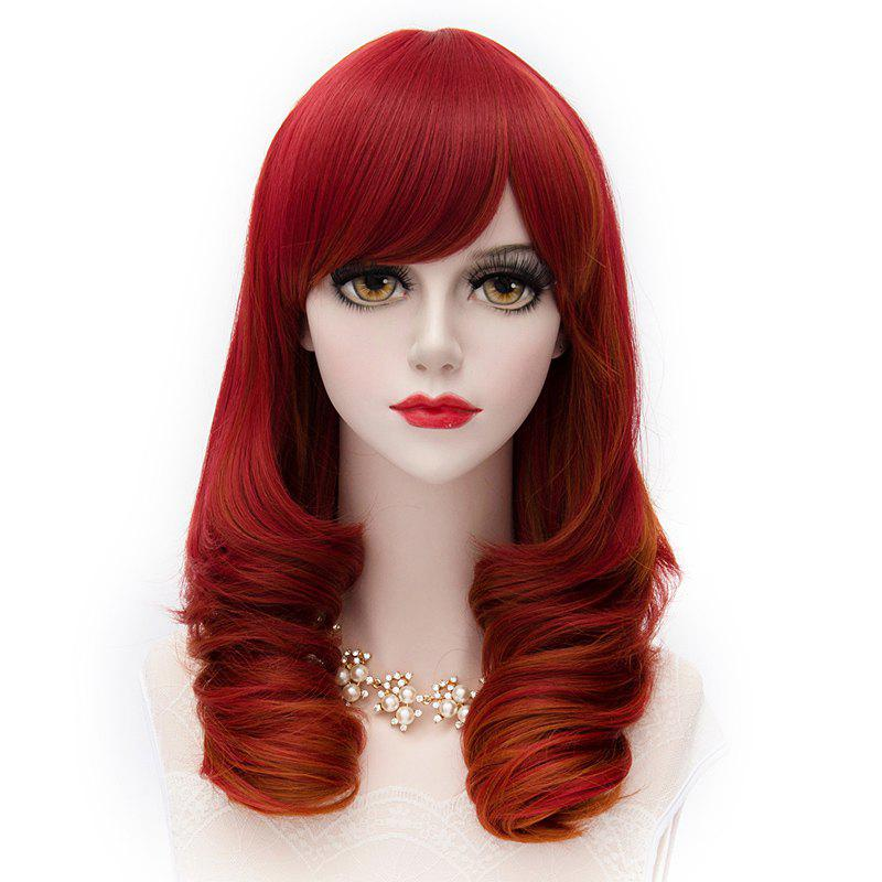 Stylish Synthetic Long Curly Shaggy Red Mixed Gold Brown Harajuku Side Bang Women's Capless Wig - COLORMIX