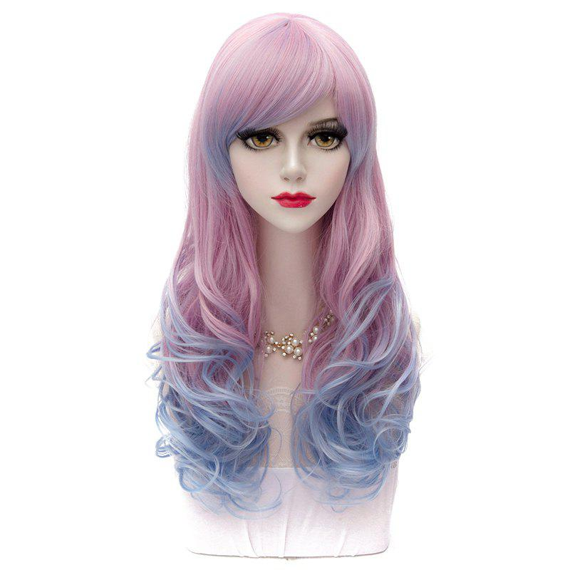 Lolita Anime Hairstyle Design 60CM Side Bang Long Wavy Synthetic Harajuku Stylish Ombre Cosplay Wig ombre side bang stylish lolita long wavy heat resistant synthetic capless cosplay wig for women