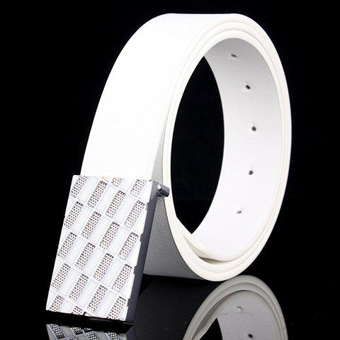 Fashionable Rhombic Buckle and Faux Leather  Men's Belt - WHITE