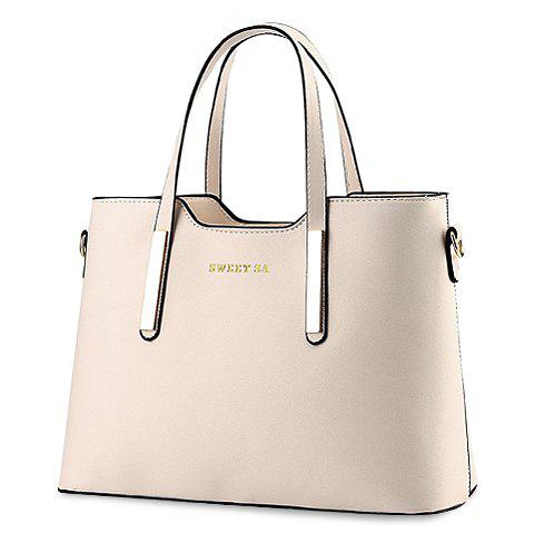 Concise Candy Color and Metallic Design Tote Bag For Women - OFF WHITE