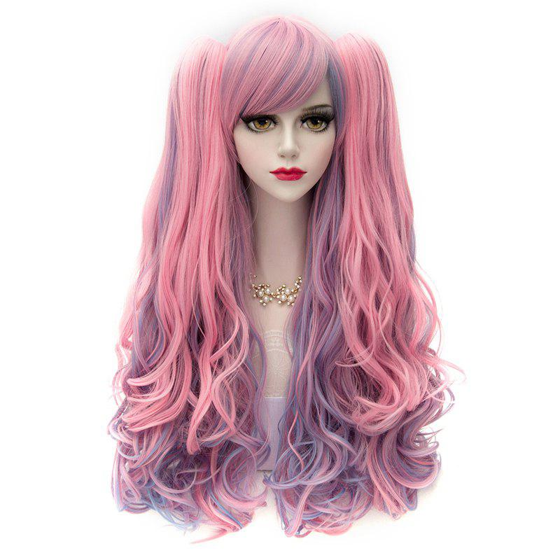 Cute Lolita Cosplay Shaggy 80CM Long Wavy With Bunches Side Bang Synthetic Fancy Color Costume Wig - COLORMIX