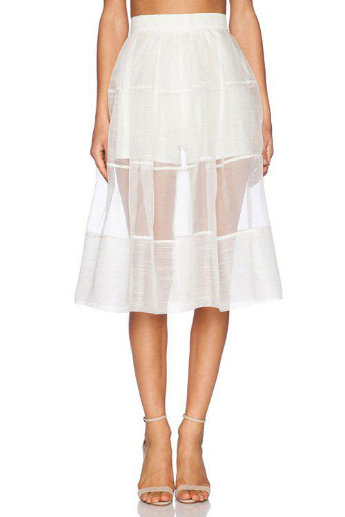 [41% OFF] 2021 Stylish High Waisted White See-Through A