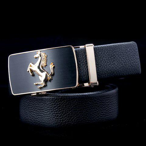 Stylish Running Horse Shape Alloy Embellished Buckle Men's Belt - BLACK