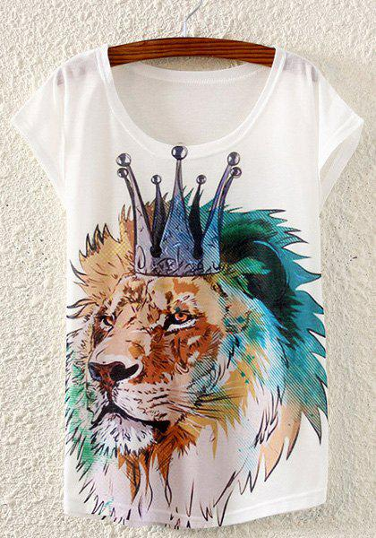 Stylish Scoop Neck Lion Head Print T-Shirt For Women - WHITE ONE SIZE(FIT SIZE XS TO M)