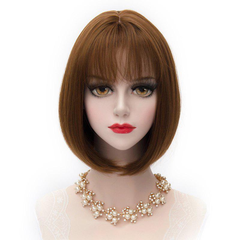 Short Natural Straight Bob Lolita Cosplay Fashionable Full Bang Brown Synthetic Capless Wig For Women - BROWN
