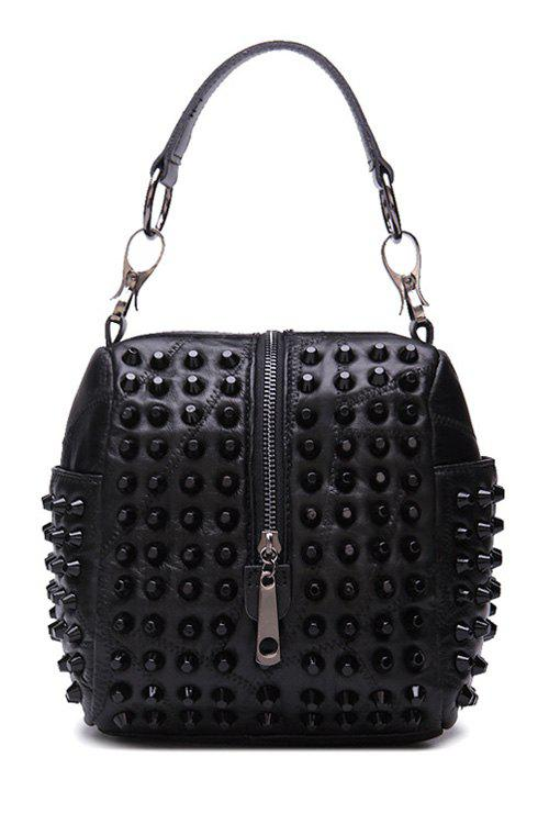 Punk Style Zipper and Rivets Design Women's Tote Bag - BLACK