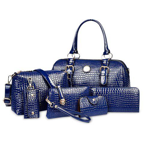 Gorgeous Crocodile Print and PU Leather Design Tote Bag For Women - BLUE