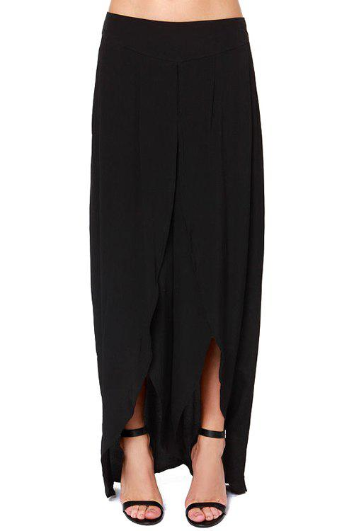 Fashionable Solid Color High Slit Zipper Fly Pants For Women - BLACK M