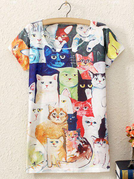 Stylish Short Sleeve Scoop Collar Kitten Print Women's T-Shirt - WHITE ONE SIZE(FIT SIZE XS TO M)