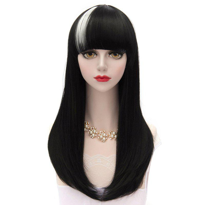 Offbeat Black White Highlight Long Synthetic Neat Bang Natural Straight Capless Cosplay Lolita Style Wig
