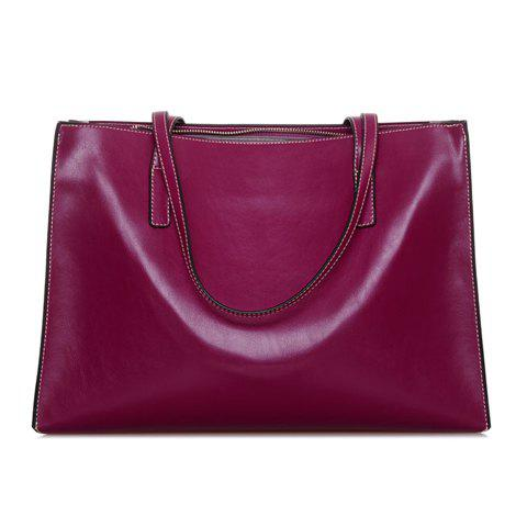 Simple Style Zipper and Capacious Design Shoulder Bag For Women - PURPLE