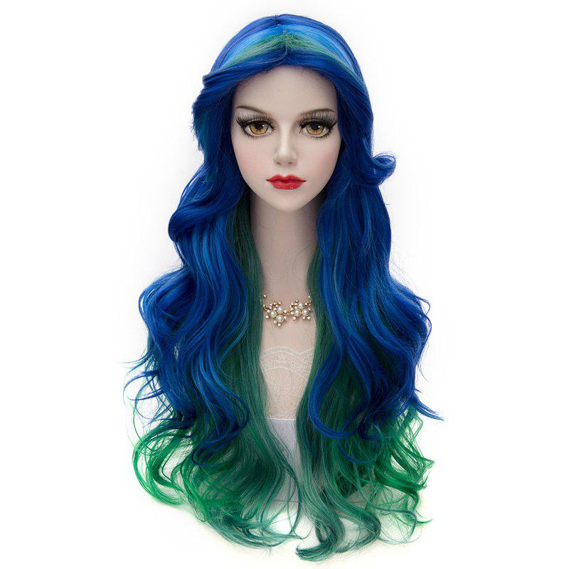 Towheaded Wavy Vogue Multi-Colored Synthetic Lolita Long Centre Parting Cosplay Capless Women's Wig - BLUE/GREEN