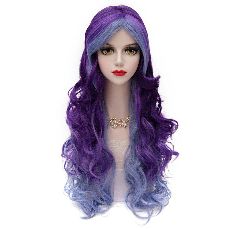 Fluffy Long Lolita Capless Two-Tone Gradient Middle Part Fashion Wave Synthetic Cosplay Wig - COLORMIX