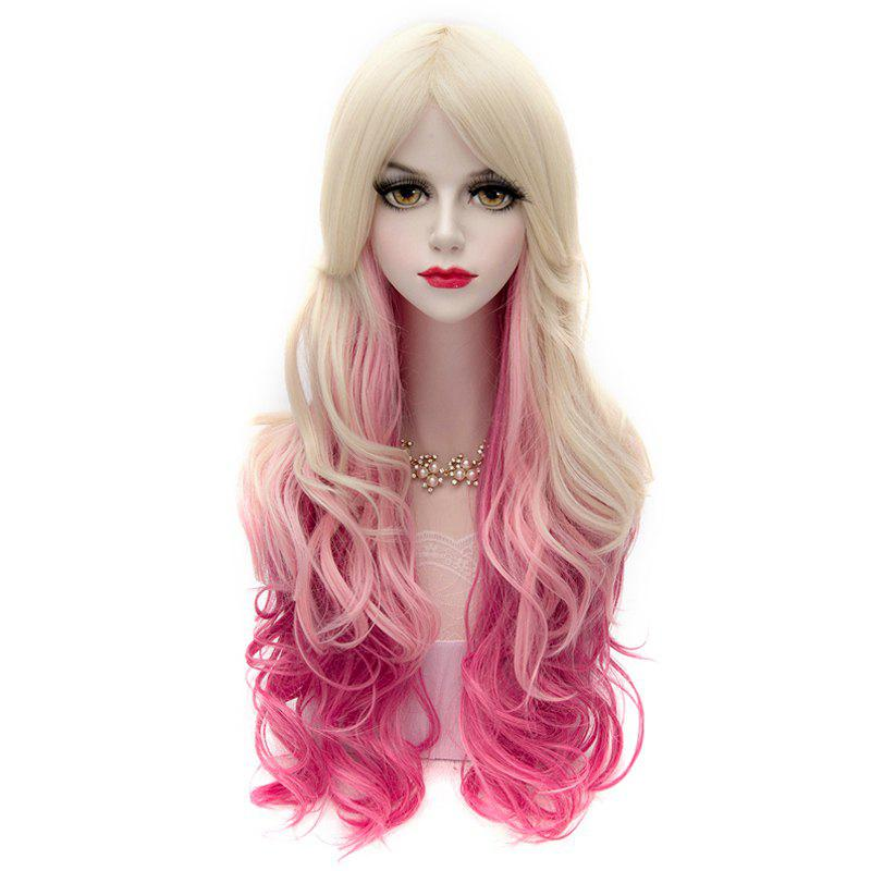 Blonde Gradient Deep Pink Charming Lolita Centre Parting Capless Synthetic Long Wavy Cosplay Women's Wig - COLORMIX