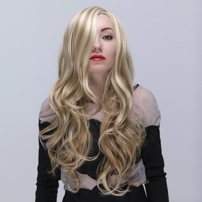Europe Type Style Side Bang Layered Long Wavy Top Quality Blonde Highlights Women's Synthetic Wig