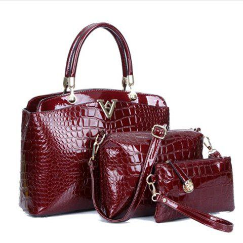 Stylish Crocodile Print and Letter V Design Tote Bag For Women - WINE RED