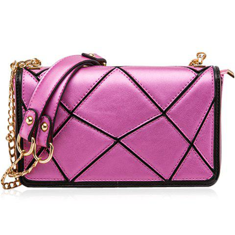 Graceful Geometric Pattern and Chain Design Women's Shoulder Bag - ROSE