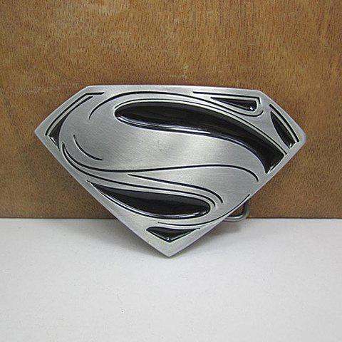 Stylish Superman Mark Shape Embellished Men's Metal Belt Buckle, Silver and black