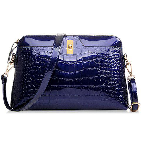 Gorgeous Stone Pattern and Patent Leather Design Crossbody Bag For Women - SAPPHIRE BLUE