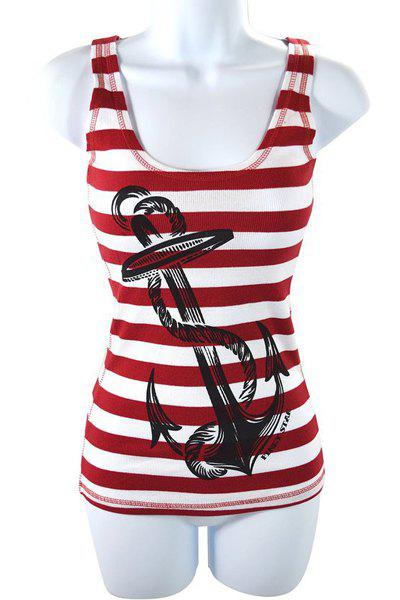 Stylish Women's Scoop Neck Striped Anchor Print Tank Top - RED L