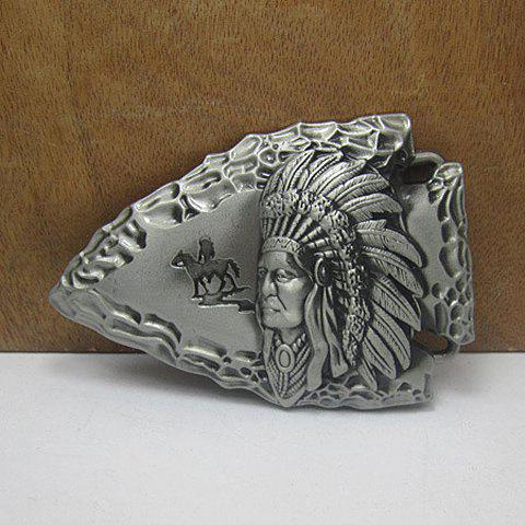 Stylish Indian People Head Shape Embellished Fish Shape Metal Belt Buckle For Men - SILVER