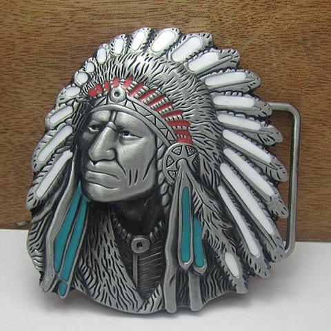 Stylish Tribal Indian People Head Shape Metal Belt Buckle For Men - COLORMIX