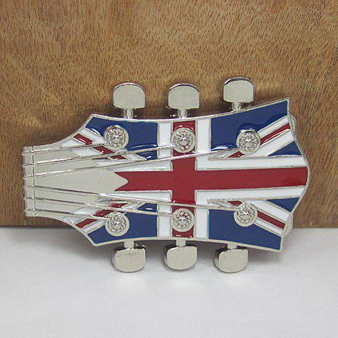 Stylish Union Flag Pattern Guitar Headstocks Shape Metal Belt Buckle For Men - COLORMIX
