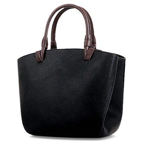 Casual Color Block and PU Leather Design Women's Tote Bag - BLACK