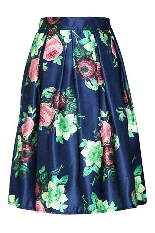 Stylish High-Waisted Floral Print Elastic Waist Women's Ball Gown Skirt - BLUE ONE SIZE(FIT SIZE XS TO M)