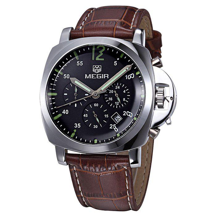 MEGIR 3009 Date Function Water Resistant Male Japan Quartz Watch with Genuine Leather Band Working Sub-dials - BROWN SILVER BLACK