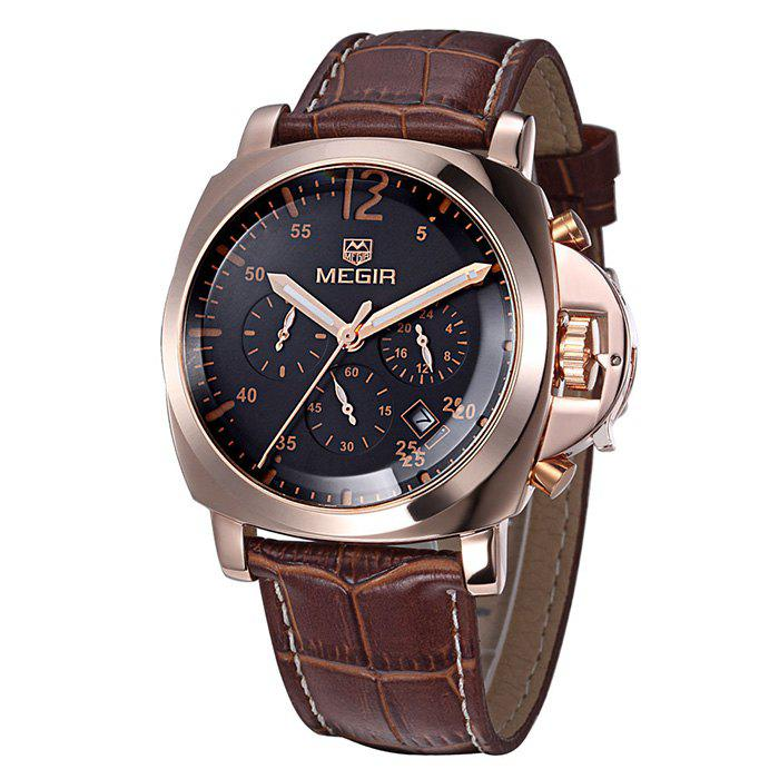 MEGIR 3009 Date Function Water Resistant Male Japan Quartz Watch with Genuine Leather Band Working Sub-dials - BROWN GOLD BLACK