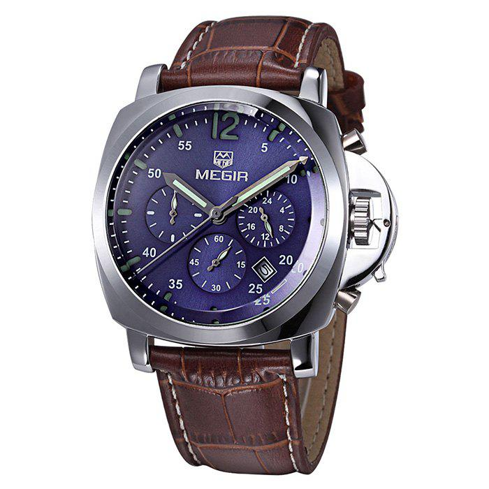 MEGIR 3009 Date Function Water Resistant Male Japan Quartz Watch with Genuine Leather Band Working Sub-dials - BROWN SILVER BLUE