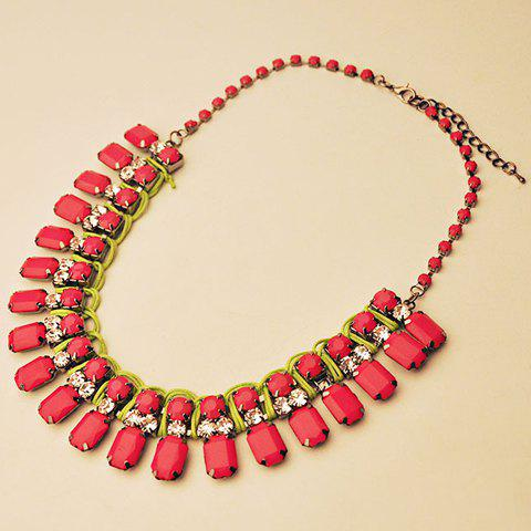 Graceful Faux Red Gemstone Decorated Square Necklace For Women - RED
