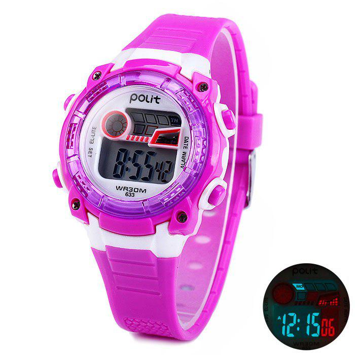 Polit 633 LED Kid Sports Watch Résistance à l'eau Montre-bracelet avec Day Date Alam Function Rubber Band - Pourpre