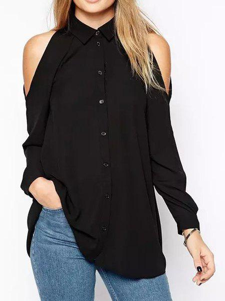 Stylish Turn-Down Collar Solid Color Single-Breasted Long Sleeve Women's Chiffon Blouse - BLACK L