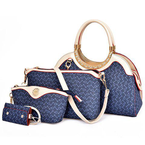 Fashionable Rhinestones and Printed Design Tote Bag For Women - BLUE