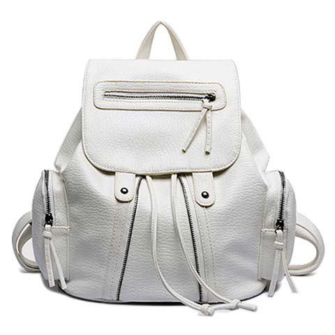 Stylish Style PU Leather and String Design Satchel For Women - WHITE