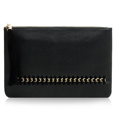 Trendy Chain and Tassels Design Women's Clutch Bag - BLACK