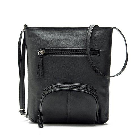 Preppy Solid Color and Zippers Design Women's Crossbody Bag - BLACK