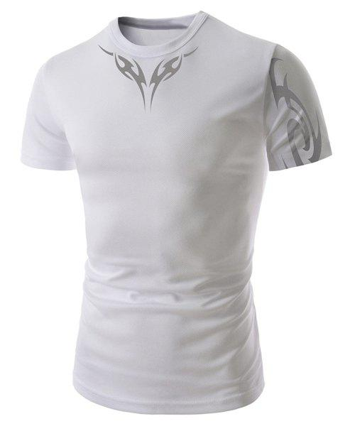 Slimming Round Neck Vogue Abstract Tattoo Print Short Sleeve Men's Polyester T-Shirt - WHITE L
