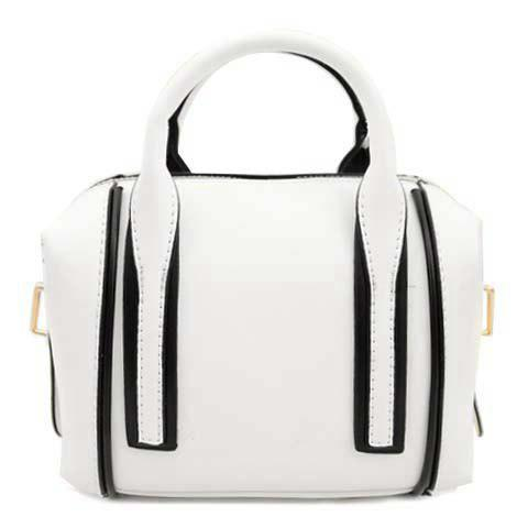 Stylish Style Color Block and Zipper Design Crossbody Bag For Women - WHITE