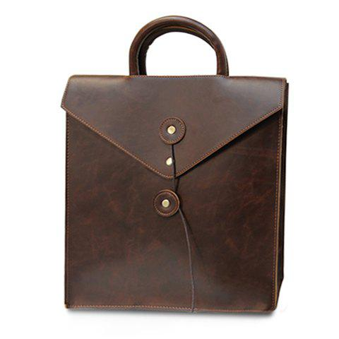 Retro Solid Color and PU Leather Design Backpack For Men - COFFEE