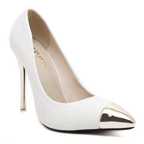 Sexy Stone Pattern and Metal Toe Design Women's Pumps - WHITE 38