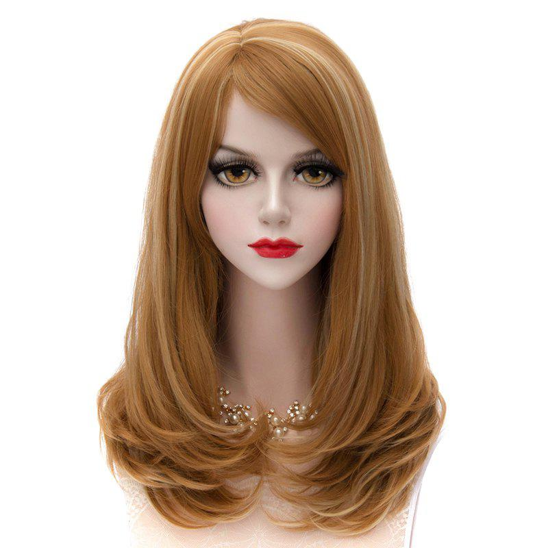 Heat Resistant Synthetic Stylish Capless Long Lolita Side Bang Fluffy Wavy Highlight Cosplay Women's Wig - FLAXEN GOLD HIGHLIGHT