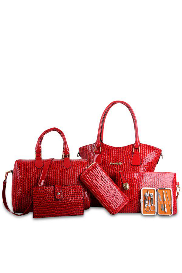 Trendy Crocodile Print and Patent Leather Design Women's Shoulder Bag - RED