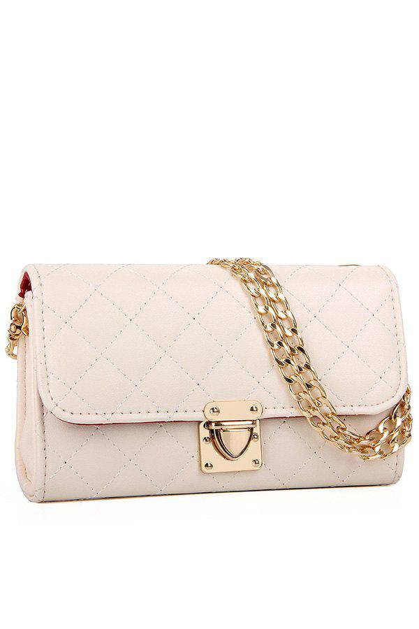 Graceful Checked and Chain Design Women's Crossbody Bag - WHITE