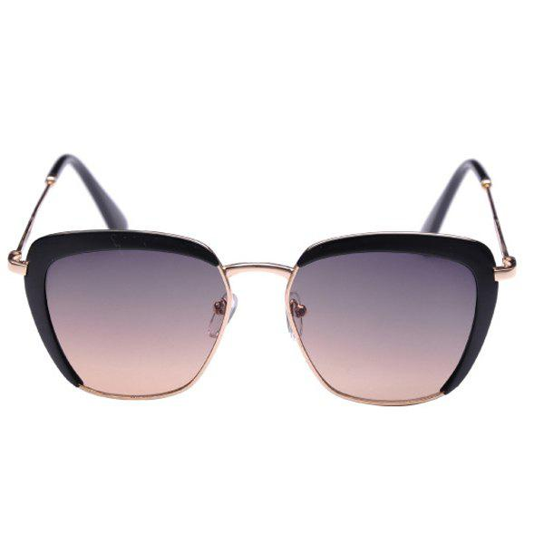 Chic Solid Color Half Plastic Frame Embellished Women's Sunglasses